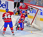 21 December 2008: Montreal Canadiens' goaltender Carey Price is pushed into the net, knocking it off its moorings during the first period against the Carolina Hurricanes at the Bell Centre in Montreal, Quebec, Canada. The Hurricanes defeated the Canadiens 3-2 in overtime. ***** Editorial Sales Only ***** Mandatory Photo Credit: Ed Wolfstein Photo