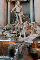 Detail of Trevi Fountain, Rome, Italy, pictured on December 11, 2010 in the afternoon. The largest Baroque fountain in the world, it was designed 1732-62 by Nicola Salvi and Giuseppe Pannini. At the junction of three roads (tre vie), it is also the terminal of the Ancient Roman Aqua Virgo aqueduct, restored in 1543 by Pope Nicholas V. This 1732 sculpture of Neptune by Pietro Bracci stands in the central niche, surrounded by a set piece on the theme of Taming the Waters. Picture by Manuel Cohen