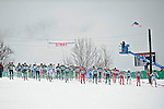 11 MAR 2011: The field races from the start line during the men's 20km Classical Cross Country race during the 2011 NCAA Men and Women's Division I Skiing Championship held Stowe Mountain Resort and Trapp Family Lodge in Stowe, VT. ©Brett Wilhelm/NCAA Photos