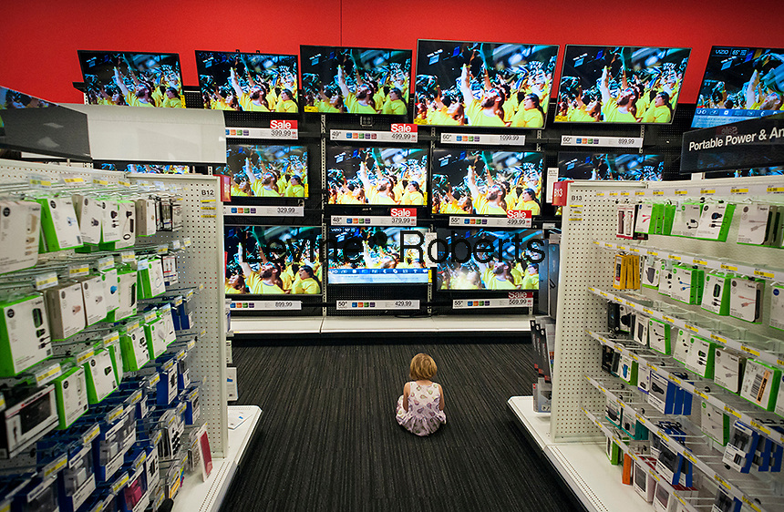 Flat screen television display in the Target store in the City Point mall in Downtown Brooklyn in New York on Saturday, March 4, 2017. (© Richard B. Levine)