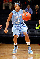 CHARLOTTESVILLE, VA- JANUARY 5: Danielle Butts #10 of the North Carolina Tar Heels handles the ball during the game against the Virginia Cavaliers on January 5, 2012 at the John Paul Jones arena in Charlottesville, Virginia. North Carolina defeated Virginia 78-73. (Photo by Andrew Shurtleff/Getty Images) *** Local Caption *** Danielle Butts