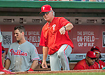 11 September 2016: Philadelphia Phillies Manager Pete Mackanin looks out from the dugout steps during a game against the Washington Nationals at Nationals Park in Washington, DC. The Nationals edged out the Phillies 3-2 to take the rubber match of their 3-game series. Mandatory Credit: Ed Wolfstein Photo *** RAW (NEF) Image File Available ***