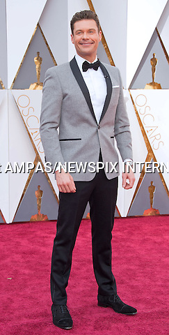 28.02.2016; Hollywood, California: 88th OSCARS - RYAN SEACREST<br /> attend the 88th Annual Academy Awards at the Dolby Theatre&reg; at Hollywood &amp; Highland Center&reg;, Los Angeles.<br /> Mandatory Photo Credit: &copy;Ampas/Newspix International<br /> <br /> PHOTO CREDIT MANDATORY!!: NEWSPIX INTERNATIONAL(Failure to credit will incur a surcharge of 100% of reproduction fees)<br /> <br /> IMMEDIATE CONFIRMATION OF USAGE REQUIRED:<br /> Newspix International, 31 Chinnery Hill, Bishop's Stortford, ENGLAND CM23 3PS<br /> Tel:+441279 324672  ; Fax: +441279656877<br /> Mobile:  0777568 1153<br /> e-mail: info@newspixinternational.co.uk<br /> All Fees To: Newspix International