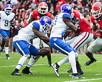 ATHENS, GEORGIA - November 7, 2015: University of Georgia Bulldogs play the Kentucky Wildcats at Sanford Stadium. Final score Georgia 27, Kentucky 3