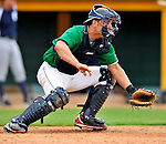 17 June 2008: Vermont Lake Monsters catcher Chris Solis takes pre-game drills prior to Opening Day against the Oneonta Tigers at historic Centennial Field in Burlington, Vermont. The Lake Monsters defeated the Tigers 6-4 in the first game of their three-game season opening series in Vermont...Mandatory Credit: Ed Wolfstein Photo