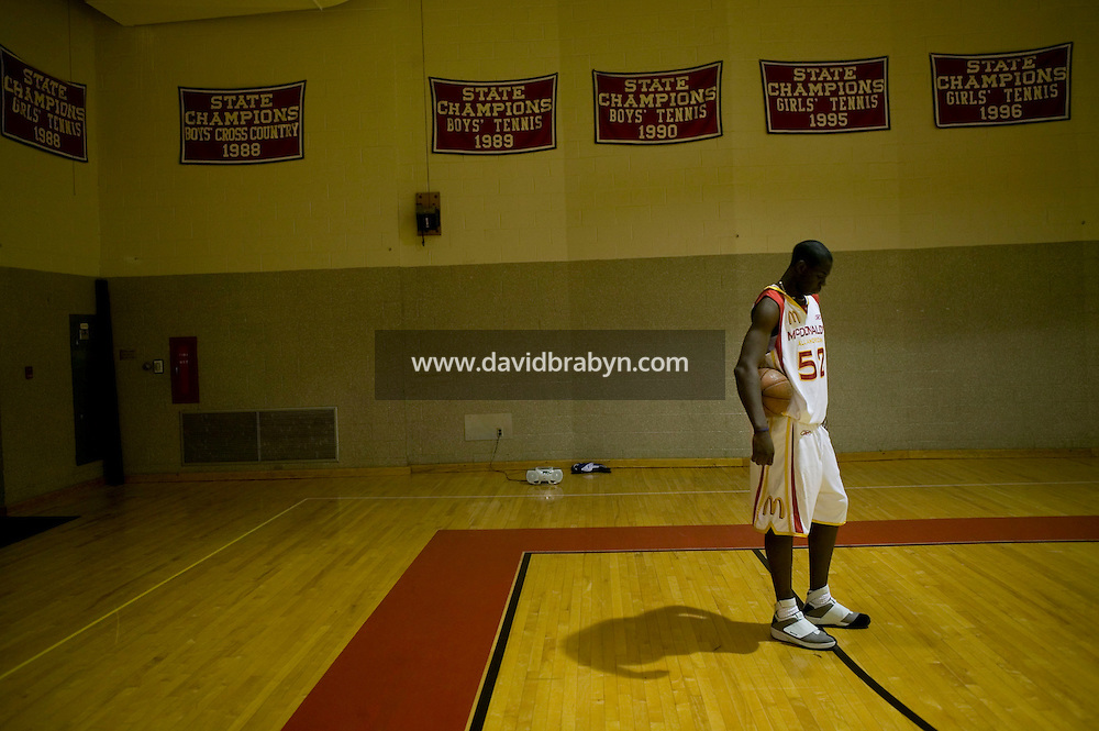 Eric Boateng practices in the gym at St Andrews High School in Middletown, DE, United States, 19 April 2005.