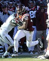 Nov 27, 2010; Charlottesville, VA, USA; Virginia Tech Hokies running back Darren Evans (32) during the game against the Virginia Cavaliers at Lane Stadium. Virginia Tech won 37-7. Mandatory Credit: Andrew Shurtleff