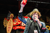 Dr. Ira Padnos introduces the next act at the Ponderosa Stomp in New Orleans on October 3, 2015.