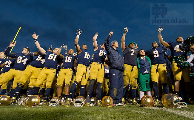Nov. 2, 2013; The football team sings the Alma Mater after defeating Navy 38-34.<br /> <br /> Photo by Matt Cashore