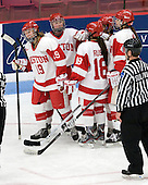 Jenelle Kohanchuk (BU - 19), Shannon Doyle (BU - 6), Rebecca Russo (BU - 18), Kayla Tutino (BU - 8), Kathryn Miller (BU - 4) - The Boston University Terriers defeated the visiting Union College Dutchwomen 6-2 on Saturday, December 13, 2012, at Walter Brown Arena in Boston, Massachusetts.