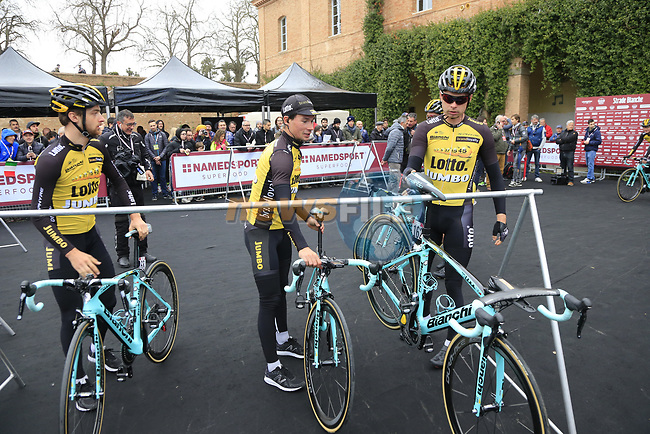 Team Lotto NL-Jumbo arrive at sign on before the start of the 2017 Strade Bianche running 175km from Siena to Siena, Tuscany, Italy 4th March 2017.<br /> Picture: Eoin Clarke | Newsfile<br /> <br /> <br /> All photos usage must carry mandatory copyright credit (&copy; Newsfile | Eoin Clarke)