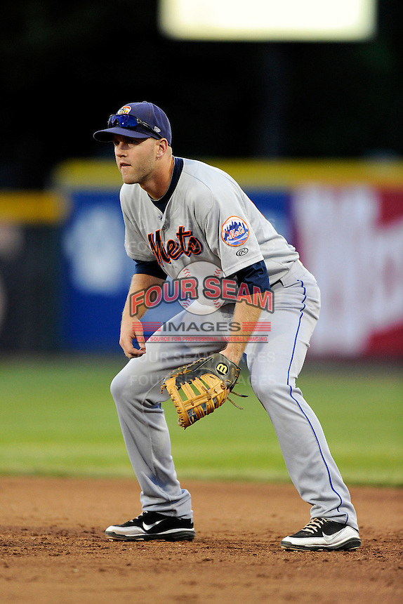 Binghamton Mets first baseman Eric Campbell #21 during a game against the Erie Seawolves at Jerry Uht Park on June 23, 2012 in Erie, Pennsylvania.  Erie defeated Binghamton 5-3.  (Mike Janes/Four Seam Images)