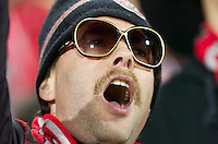 """A TFC Fan chants """"It's All you're fault"""" after FC Dallas' George John put the ball in the back of his own net.  Colorado would  go on to win their frist MLS Cup 2-1 against FC Dallas"""