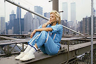 Brooklyn Bridge, New York, U.S.A, June 1979. French singer Sylvie Vartan.