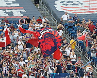 Fans. In a Major League Soccer (MLS) match, New England Revolution defeated New York Red Bulls, 2-0, at Gillette Stadium on July 8, 2012.