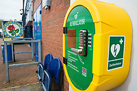 A Defibrillator unit sponsored by BMI Healthcare at Ewood Park, home of Blackburn Rovers FC