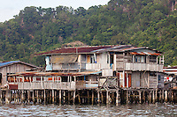Wooden stilt house in the Water Village, Kampung Buli Sim Sim, Sandakan, Sabah