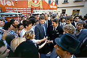 United States President Ronald Reagan and first lady Nancy Reagan greet Soviet citizens on the Arbat in Moscow, USSR on Sunday, May 29, 1988..Mandatory Credit: Pete Souza - White House via CNP