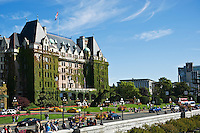 The Empress hotel and crowded street, Victoria, British Columbia, Canada