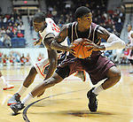"Arkansas Little Rock's Leroy Isler (13) comes up with the ball in ront of Mississippi's Murphy Holloway (31) at the C.M. ""Tad"" Smith Coliseum in Oxford, Miss. on Friday, November 16, 2012. (AP Photo/Oxford Eagle, Bruce Newman)"