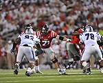 Ole Miss offensive lineman Pierce Burton (71) at Vaught-Hemingway Stadium in Oxford, Miss. on Saturday, September 1, 2012. (AP Photo/Oxford Eagle, Bruce Newman)..