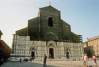 Italy: Bologna--Piazza Maggiore. Basilica San Petronio--begun 1390, never finished. Photo '83.