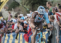 Oliver Naesen (BEL/AG2R-LaMondiale) trying to get back to the front up the Paterberg after being involved in a crash with Peter Sagan up the Oude Kwaremont just before<br /> <br /> 101th Ronde Van Vlaanderen 2017 (1.UWT)<br /> 1day race: Antwerp &rsaquo; Oudenaarde - BEL (260km)