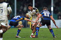 Amanaki Mafi of Bath Rugby takes on the Worcester Warriors defence. Aviva Premiership match, between Worcester Warriors and Bath Rugby on February 13, 2016 at Sixways Stadium in Worcester, England. Photo by: Patrick Khachfe / Onside Images