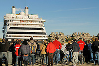 Canada, Montreal, Cruise ship at dock with crowd of onlookers