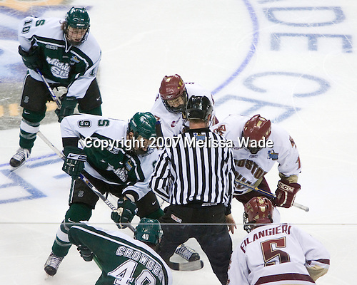 Dan Bertram (Boston College - Calgary, AB) was tossed from the faceoff against Justin Abdelkader (Michigan State - Muskegon, MI), but appeared to join Brock Bradford (Boston College - Burnaby, BC) as the puck was dropped. The Michigan State Spartans defeated the Boston College Eagles 3-1 (EN) to win the national championship in the final game of the 2007 Frozen Four at the Scottrade Center in St. Louis, Missouri on Saturday, April 7, 2007.