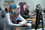 Women in a computer and secretarial skills class in the Vocational Training Center in Gaza City, Gaza. The center is sponsored by the Department of Service for Palestinian Refugees of the Near East Council of Churches, and funded in part by the Pontifical Mission for Palestine. DSPR is a member of the ACT Alliance.