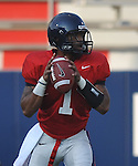 Ole Miss quarterback Randall Mackey (1) looks to pass during a scrimmage at Vaught-Hemingway Stadium in Oxford, Miss. on Saturday, August 20, 2011.