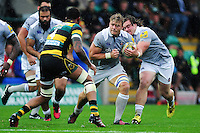 David Denton of Bath Rugby goes on the attack. Aviva Premiership match, between Northampton Saints and Bath Rugby on September 3, 2016 at Franklin's Gardens in Northampton, England. Photo by: Patrick Khachfe / Onside Images