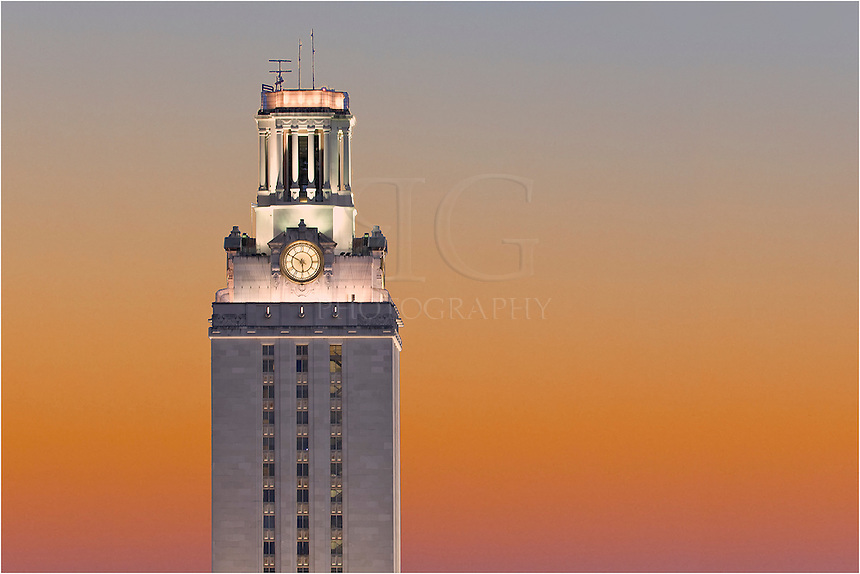 Taken from a parking garage, this image shows the University of Texas Tower as the sun sets in Austin, Texas.