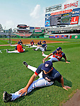 12 July 2008: Washington Nationals players stretch out prior to batting practice and a game against the Houston Astros at Nationals Park in Washington, DC. The Astros defeated the Nationals 6-4 in the second game of their 3-game series...Mandatory Photo Credit: Ed Wolfstein Photo