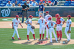 24 July 2016: Washington Nationals Manager Dusty Baker walks to the mound to relieve starting pitcher Lucas Giolito during a game against the San Diego Padres at Nationals Park in Washington, DC. The Padres defeated the Nationals 10-6 to take the rubber match of their 3-game, weekend series. Mandatory Credit: Ed Wolfstein Photo *** RAW (NEF) Image File Available ***