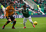 Hibernian 3 Alloa Athletic 0, 12/09/2015. Easter Road stadium, Scottish Championship. Recent signing Islam Feruz in action for the home team during the second-half at Easter Road stadium during the Scottish Championship match between Hibernian and visitors Alloa Athletic. The home team won the game by 3-0, watched by a crowd of 7,774. It was the Edinburgh club's second season in the second tier of Scottish football following their relegation from the Premiership in 2013-14. Photo by Colin McPherson.