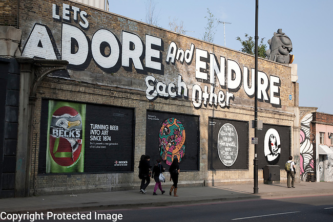 Lets Adore and Endure Each Other - Art Mural by Stefan Powers in Shoreditch London