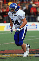 Universite de Montreal Carabins' William Fontaine in CIS football action against the Rouge et Or at the universite Laval stadium in Quebec City, September 7, 2008. Laval won 17-6 before a crowd of 15,275.