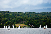 Sailing yachts on Lake Winderemere viewed from Troutbeck towards Hawkshead in the Lake District National Park, Cumbria, UK