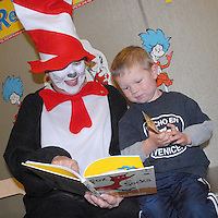 The Cat in the Hat, Kiwanian Dr. Janie Jones Harding, reads a book to Henry Kress, 3,at the Santa Monica Public Library during Kiwanis Club of Santa Monica's 'Could You, Would You, Read a Book?'on Saturday, March 5, 2011. The Seuss-tacular Day of Dr. Seuss was in honor of Dr. Seuss' birthday.