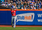 21 April 2013: Washington Nationals second baseman Danny Espinosa pulls in a David Wright infield fly ball in the first inning against the New York Mets at Citi Field in Flushing, NY. The Mets shut out the visiting Nationals 2-0, taking the rubber match of their 3-game weekend series. Mandatory Credit: Ed Wolfstein Photo *** RAW (NEF) Image File Available ***
