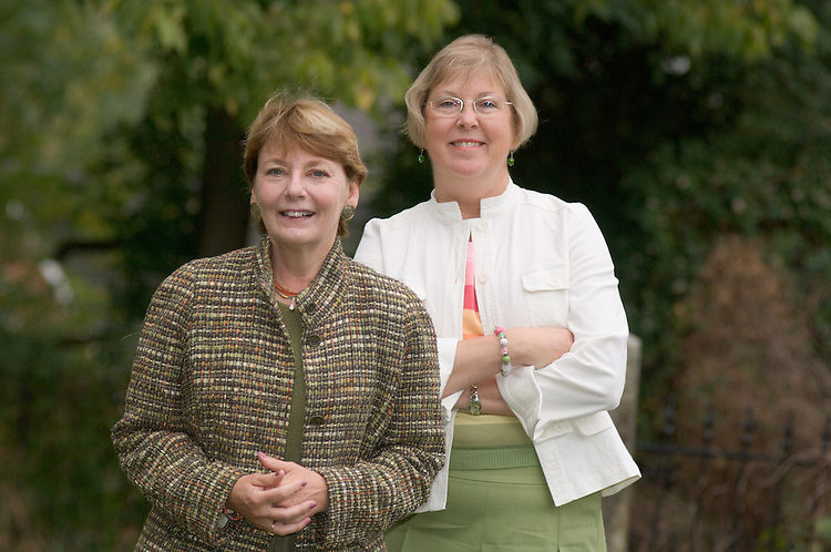 a portrait of Bev Jones alone and one of her and Susan Reimer together