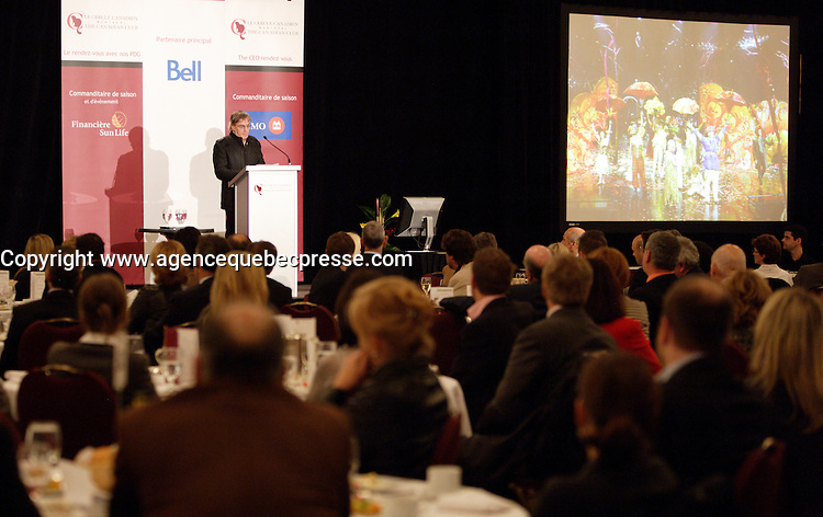 Montreal (Qc) CANADA - October 14 2011 - Daniel Lamarre, President and CEO, Cirque du Soleil speak at the Canadian Club of Montreal tribune