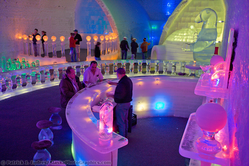 Tourists explore the ice bar and sights with the Ice Museum (hotel), Chena Hot Springs Resort, Chena Hot Springs, Alaska
