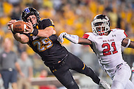Baltimore, MD - SEPT 10, 2016: Towson Tigers wide receiver Christian Summers (25) beats St. Francis (Pa) Red Flash defensive back Delondo Boyd (21) for the game winning touchdown during their game at Johnny Unitas Stadium in Baltimore, MD. The Tigers defeated St. Francis 35-28. (Photo by Phil Peters/Media Images International)