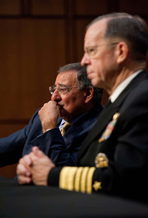 UNITED STATES - SEPTEMBER 22:  Chairman of the Joint Chiefs of Staff Adm. Mike Mullen, right, and Secretary of Defense Leon Panetta, appear before a Senate Armed Services Committee hearing in Hart Building on U.S. strategy in Afghanistan and Iraq.  (Photo By Tom Williams/Roll Call)