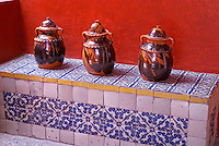 Ceramic jars in the  Museo Casa del Alfenique, Puebla, Mexico. The historical center of Puebla is a UNESCO World Heritage Site.