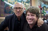 Me and composer Michael Nieman Nyman at the Covadonga cantina, Mexico City.  Photo by Kurt Hollander