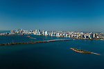 Miami Skyline and Biscayne Bay with Edgewater neighborhood and Julia Tuttle causeway in the foreground.